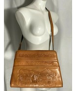 Brown Leather Crossbody Purse Tooled 1960s Mayan Large Pockets Suede Vin... - $94.05