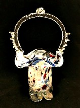 Glass Basket Footed Hand Blown Confetti Clear Applied Handle 9 inches Tall   - $27.72