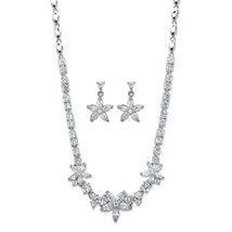 "17.80 TCW Cubic Zirconia Platinum-Plated Floral Necklace and Earrings Set 18"" - $74.99"