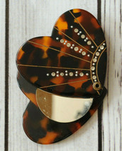 Antique small folding mirror rhinestone turtle tortoise shell heart vintage - $49.49