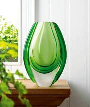 10017383 SHIPS FREE Accent Plus Vibrant Green Art Glass Vase - $26.88