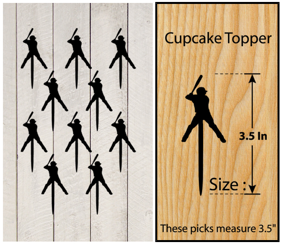 Wedding,Birthday Cupcake topper,silhouette baseball home run Package : 10 pcs