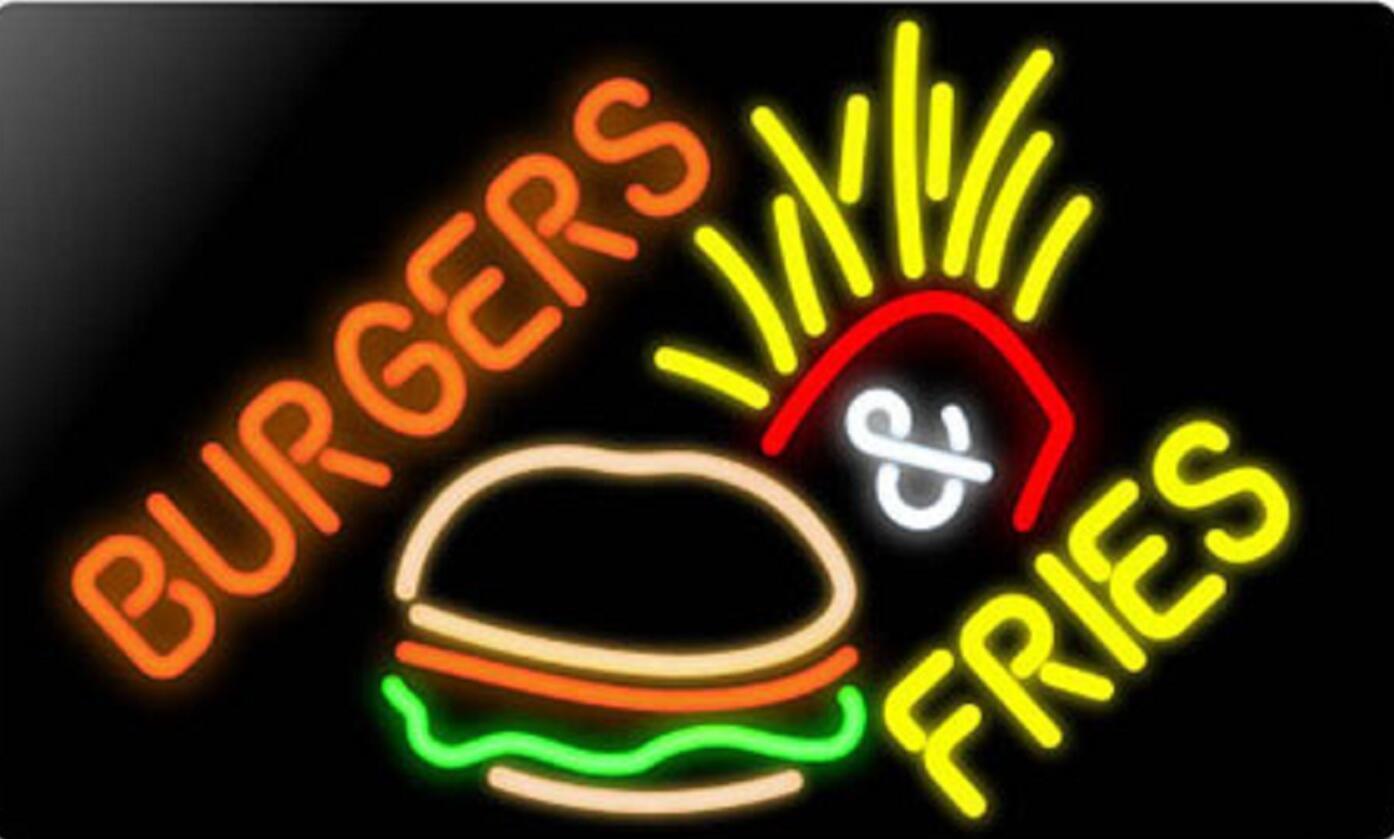 "New Burger Fries Beer Bar Restaurant Hamburger Neon Sign 24""x20"""