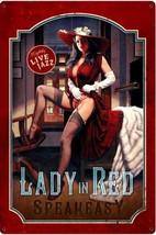 Lady In Red Greg Hildebrandt Pin Up Speakeasy Metal Sign - $29.95