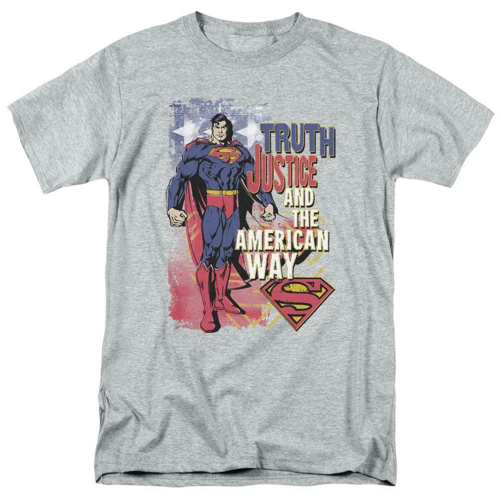 Superman T-shirt Truth,Justice  American Way retro DC comics tee SM1019