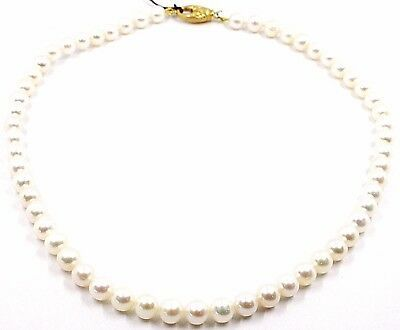 COLLIER, FERMOIR OVALE FINITION SATINÉE OR JAUNE 18K, PERLES BLANCHES 7-7.5 MM