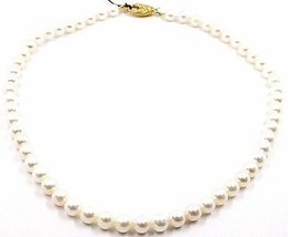 COLLIER, FERMOIR OVALE FINITION SATINÉE OR JAUNE 18K, PERLES BLANCHES 7-7.5 MM image 1
