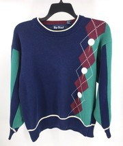 VTG 90s Par Four Mens Golf Sweater Size Large Blue Green Red Pullover - $23.76