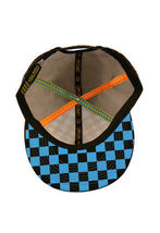 Official Black Turquoise Checker Mesh Snapback Baseball Hat Cap NWT image 5
