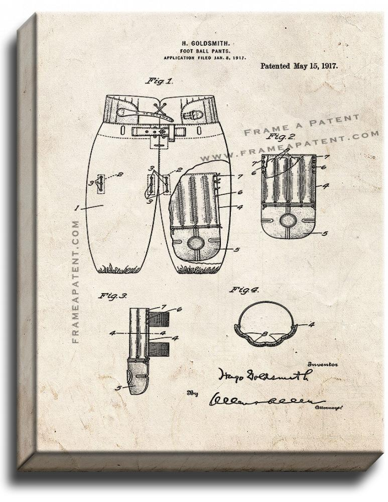 Primary image for Football Pants Patent Print Old Look on Canvas