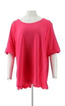 Isaac Mizrahi Elbow Slv Scallop Hem Knit Top Pink Ruby 2X NEW A349941 - $26.71