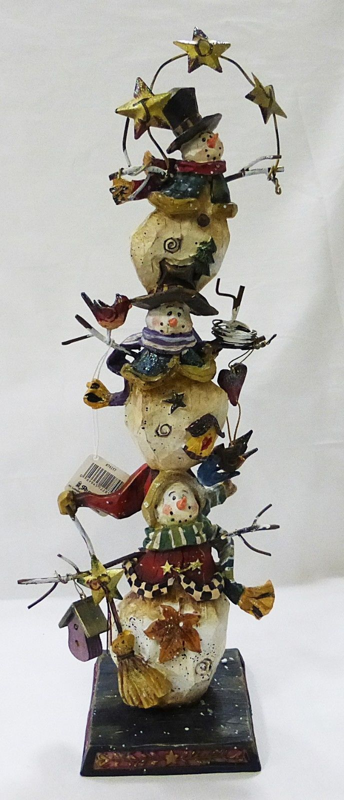 Roman Inc snowmen tower wood Christmas table shelf decoration home decor