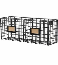 Mesh Wire Basket Mount Bin Utility Holder Storage Office Room Rustic Met... - $45.88
