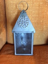 Vtg Farm  Antique Punched Pierced light Tin Old Barn Candle Lantern Prim... - £56.96 GBP