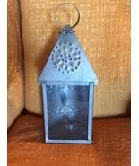 Vtg Farm  Antique Punched Pierced light Tin Old Barn Candle Lantern Prim... - €67,64 EUR