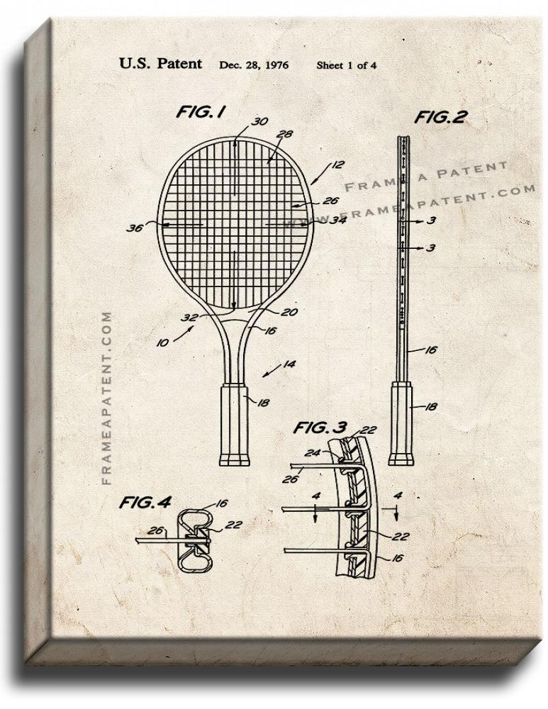 Primary image for Tennis Racket Patent Print Old Look on Canvas