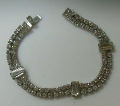 Vintage Kramer of New York Silver-tone Faceted Clear Rhinestone Bracelet  - $84.15