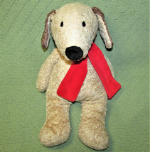 "GANZ PEARDROPS PUPPY STUFFED ANIMAL 16"" BEANBAG PLUSH TAN RED SCARF CUDD... - $17.77"