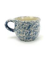 Roseville Pottery 12 oz. Mug, Blue Spongeware Gerald Henn Workshops, Cof... - $19.55