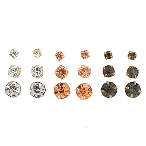 Lux Accessories goldtone Clear Peach Jet Crystal Stone Multi Earring Set 9pc