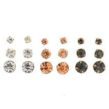 Lux Accessories goldtone Clear Peach Jet Crystal Stone Multi Earring Set... - $8.18