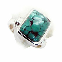 Natural Turquoise Rectangle Shape Sterling Silver Gemstone Ring Gift Siz... - $26.14