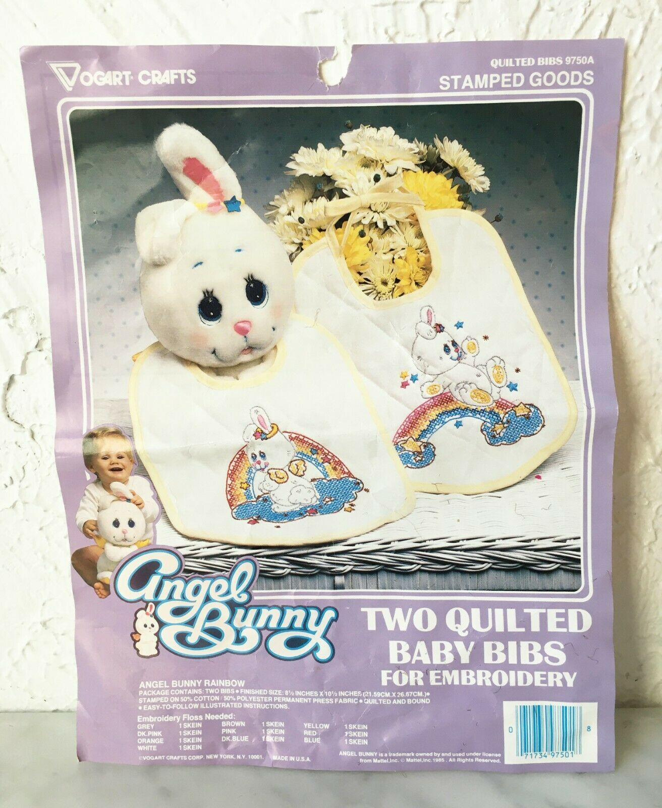 Primary image for Vogart Crafts Quilted Baby Bib Bunny Rainbow Embroidery Kit - Started