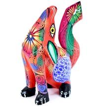 Handmade Alebrijes Oaxacan Copal Wood Carved Folk Art Howling Wolf Coyote Figure image 2