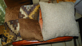 Pair of Brown Beige Gold Abstract Patchwork Print Throw Pillows  17 x 17 - $49.95