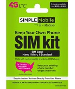 NEW SIMPLE MOBILE SIM FITS ALL PHONES  T-MOBILE NETWORK, LATEST MODEL 3 ... - $3.40