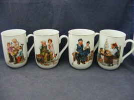 4 Lovely Norman Rockwell China Mugs by Gorham Cobbler Toymaker Ship Maker + - $19.95