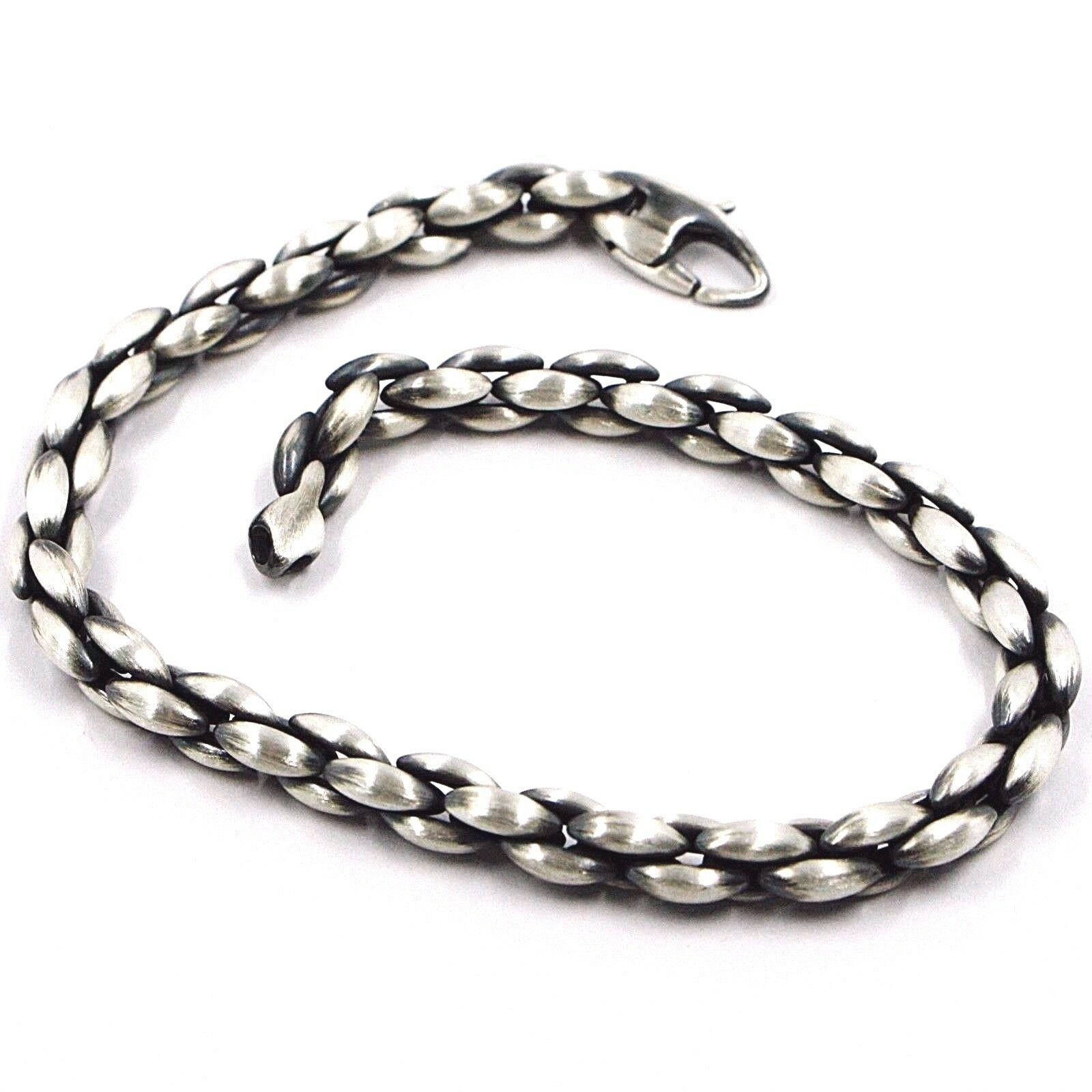 Silver Bracelet 925, Burnished Satin, Braided, Braid, Pipe, 21.5 CM
