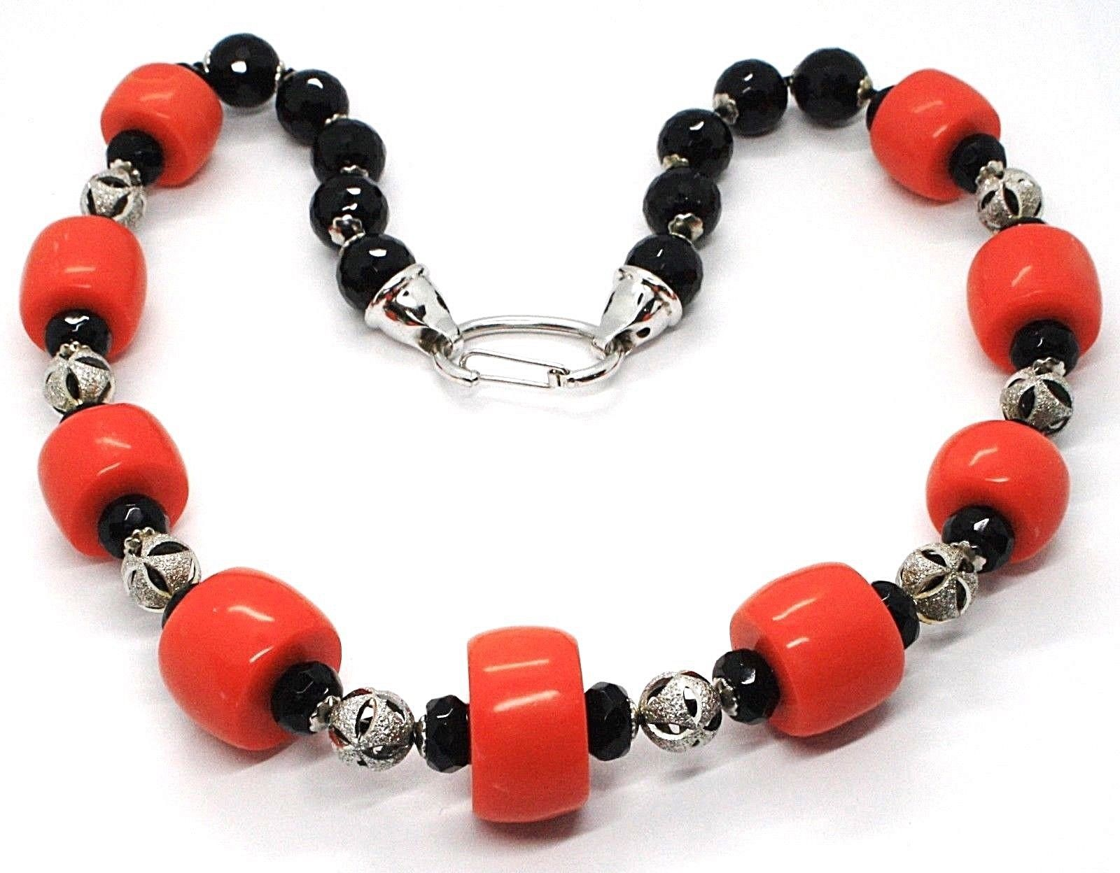 Silver necklace 925, Onyx Black Round, Discs Coral, alternated