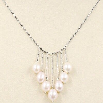 Necklace White Gold 750 18K,Waterfall,Fringed,Pearls Peach Ovals,Chain Rolo '