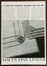 1936 Macy's Fine Linens Print Ad A Florentine Baroness Designed This for... - $11.89