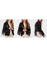 QASTAN Women's New Stylish & Beautiful Black Fringe Leather Jacket WWJ27 - $157.88+