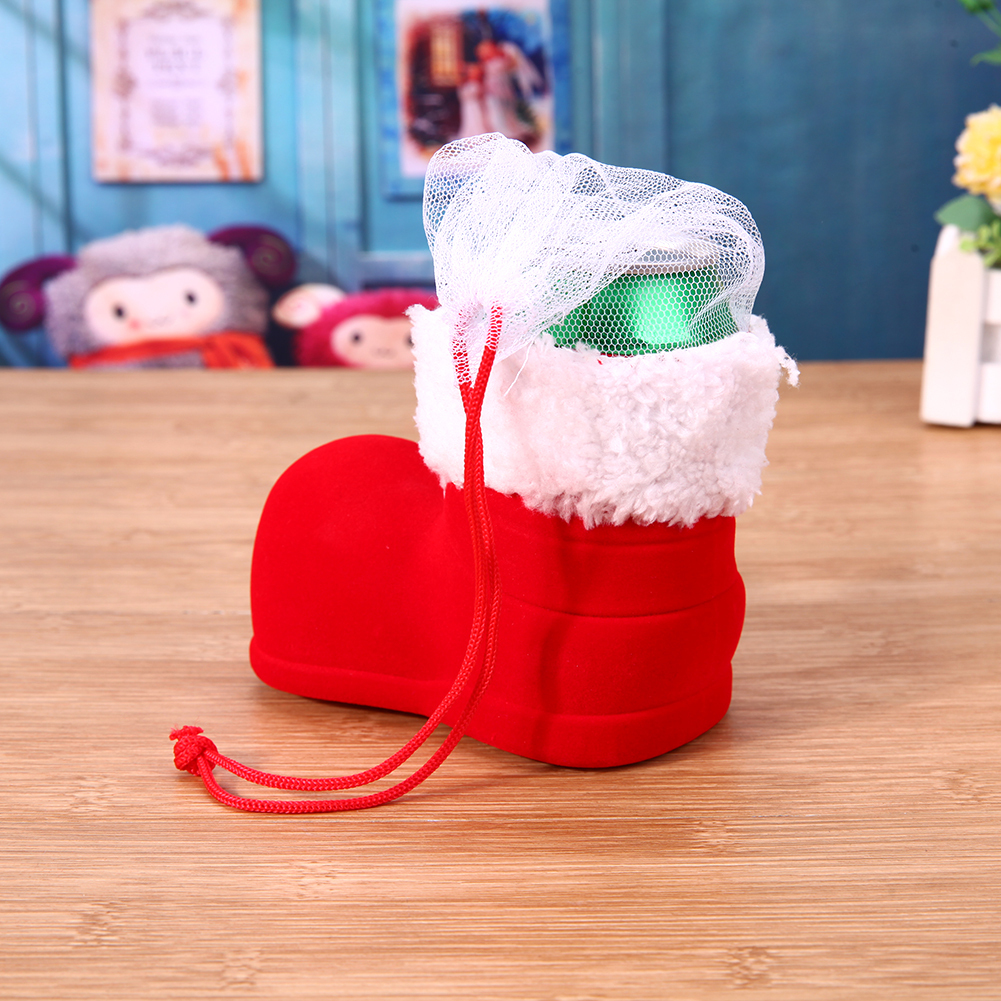 1pc Christmas Boots Flocking Boots Creative Gift Box of Candy Decorative Red Boo