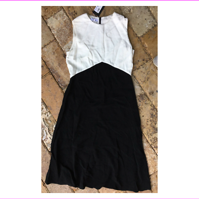 Primary image for $1795 Narciso Rodriguez A-Line Crepe Dress in Black/White, size 12, Italian 48
