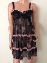 Victoria's Secret Black Floral Babydoll Slip Sheer lace chemise XS - $29.00