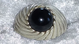 Vintage Sterling silver Sarah Coventry black onyx ring size 9 togetherness 1972. - $68.00