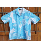 Vtg MAOHI TAHITI Hawaiian Shirt-Tribal-Blue/White-Button-Pocket-Surf Isl... - $46.74