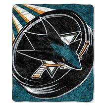 NHL San Jose Sharks Throw Blanket 50x60 Deep Pacific Teal Burnt Orange B... - $62.99