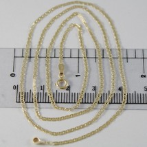 18K YELLOW GOLD CHAIN MINI OVAL FLAT WORKED MESH 1.5 MM, 15.75 IN. MADE IN ITALY image 1