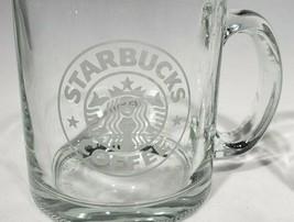 STARBUCKS Clear Glass Siren Mermaid logo etched Tea Coffee mug 12 oz USA - $11.95