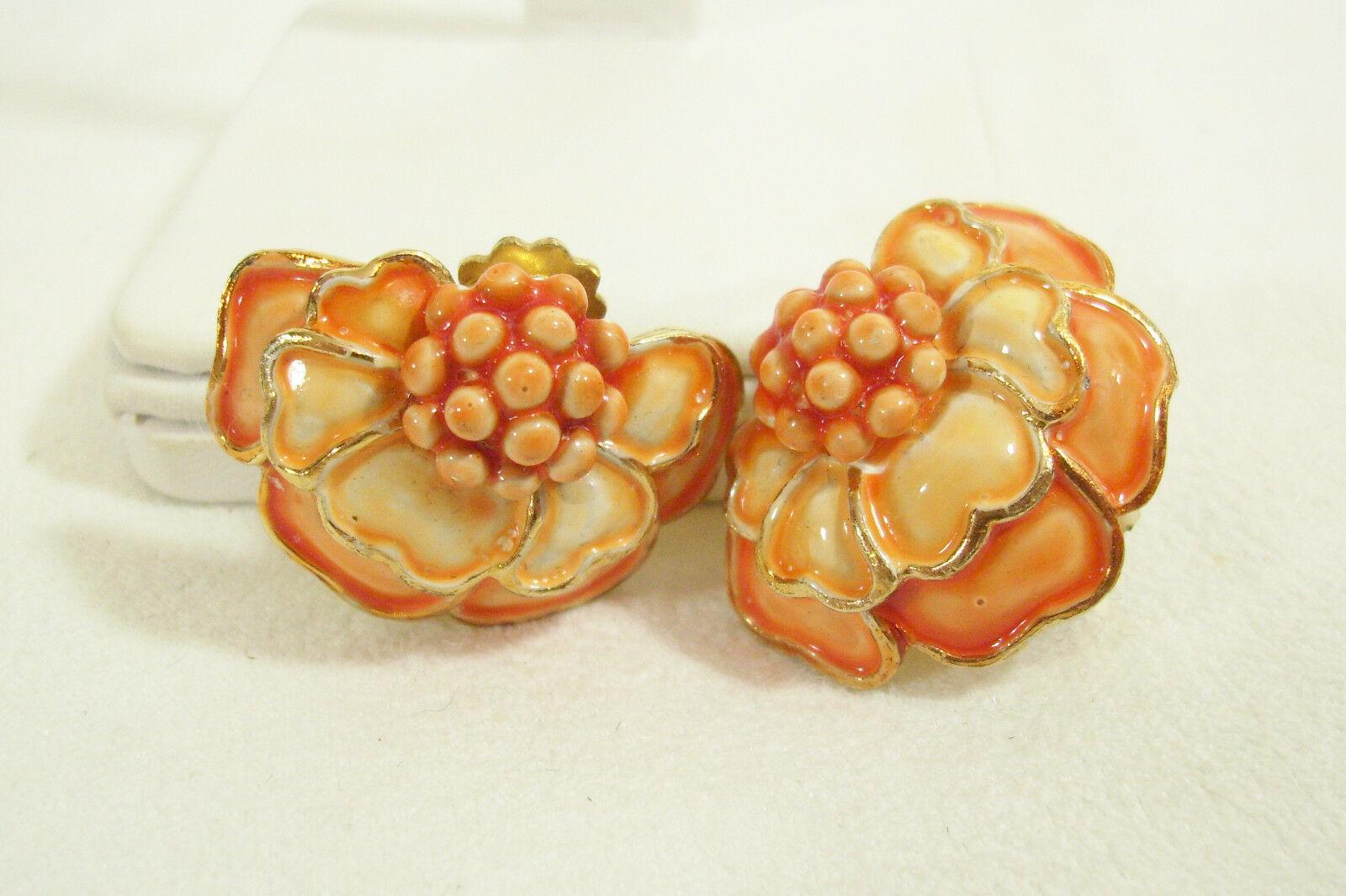 HOLLYCRAFT Orange Yellow Shades FLOWER Enamel Gold Plate Clip Earrings Vintage