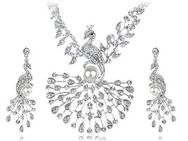Alilang Womens Silvery Tone Clear Rhinestones Faux Pearl Peacock Bird Ne... - $51.17