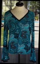 Long Flair Sleeve Macrame Black Lace Trim Impressions Shirt Sz. L Petite - $17.81
