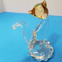 """Vintage Art Glass Cat Paperweight Clear And Amber Color 4.5"""" Tall - £12.04 GBP"""