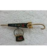 Vintage Petit Needlepoint Umbrella with Purse Lapel Pin Brooch Cute Design  - $49.45