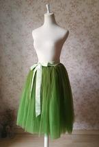 6-layer Puffy Tulle Skirt Women's Tulle Ballerina Skirt Midi Length Green image 4